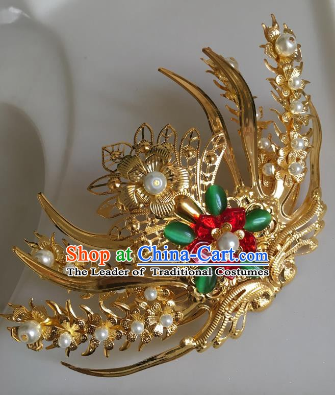 Traditional Chinese Ancient Queen Hair Accessories Hairpins Golden Phoenix Coronet for Women