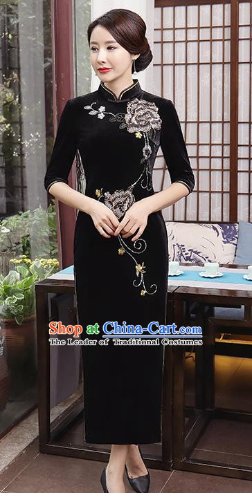Top Grade Chinese Traditional Qipao Dress National Costume Black Velvet Mandarin Cheongsam for Women