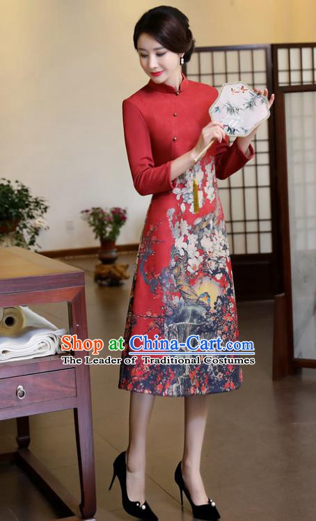 Top Grade Chinese Traditional Printing Qipao Dress National Costume Red Suede Fabric Mandarin Cheongsam for Women