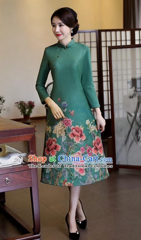 Top Grade Chinese Traditional Printing Qipao Dress National Costume Green Suede Fabric Mandarin Cheongsam for Women