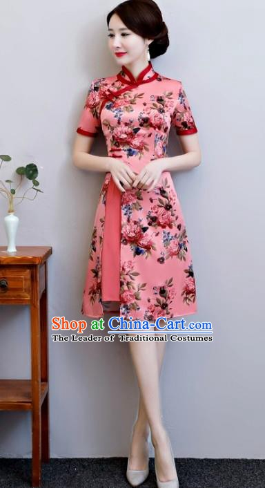 Top Grade Chinese Pink Watered Gauze Qipao Dress National Costume Traditional Mandarin Cheongsam for Women