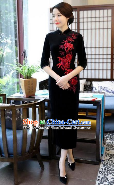 Top Grade Chinese Embroidered Qipao Dress National Costume Traditional Black Velvet Mandarin Cheongsam for Women
