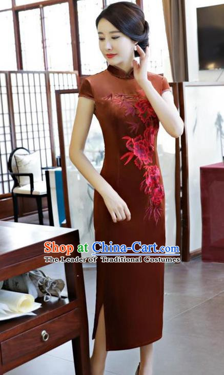 Top Grade Chinese Embroidered Qipao Dress National Costume Traditional Brown Velvet Mandarin Cheongsam for Women