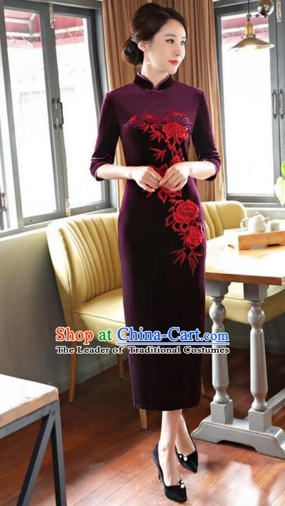 Top Grade Chinese Embroidered Qipao Dress National Costume Traditional Purple Velvet Mandarin Cheongsam for Women