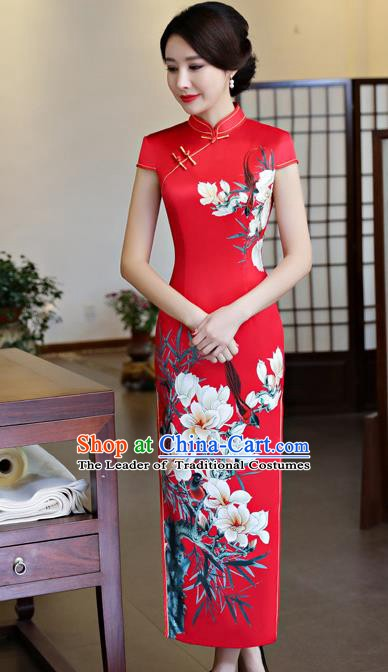 Top Grade Chinese Printing Pear Blossom Qipao Dress National Costume Traditional Red Silk Mandarin Cheongsam for Women