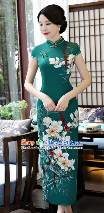 Top Grade Chinese Printing Pear Blossom Qipao Dress National Costume Traditional Green Silk Mandarin Cheongsam for Women