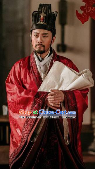 Chinese Ancient Tang Dynasty Prime Minister Wei Zheng Replica Costume for Men