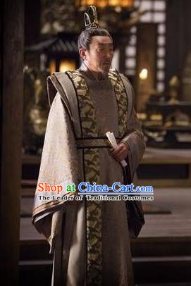 Chinese Ancient Tang Dynasty Prime Minister Pei Ji Replica Costume for Men