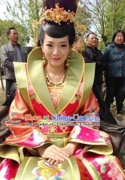 Chinese Ancient Tang Dynasty Empress Wei Embroidered Hanfu Dress Replica Costume for Women