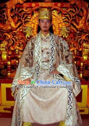 Chinese Ancient Tang Dynasty Emperor Li Zhi Replica Costume Imperial Robe for Men