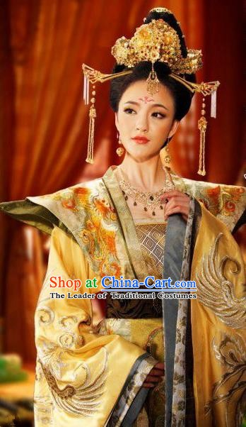 Chinese Ancient Tang Dynasty Queen Wu Zetian Dress Embroidered Replica Costume for Women