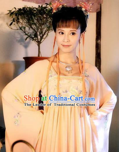 Chinese Ancient Tang Dynasty Young Lady Hanfu Dress Replica Costume for Women