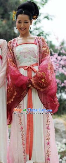 Traditional Chinese Ancient Tang Dynasty Imperial Consort Embroidered Dress Replica Costume for Women