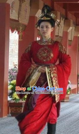 Traditional Chinese Ancient Tang Dynasty Female Officials Shangguan Waner Embroidered Replica Costume for Women