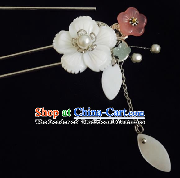 Traditional Chinese Ancient Hair Accessories Hair Stick Shell Flowers Hairpins for Women