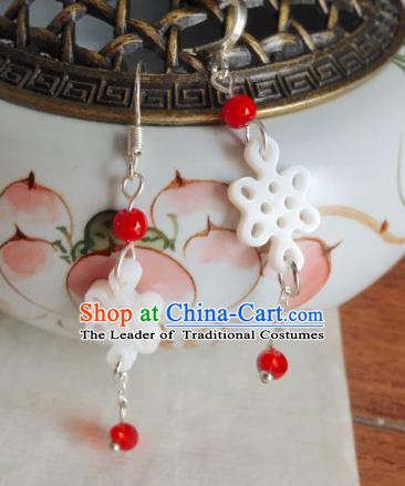 Traditional Chinese Ancient Jewelry Accessories Jade Chinese Knots Earrings Eardrop for Women