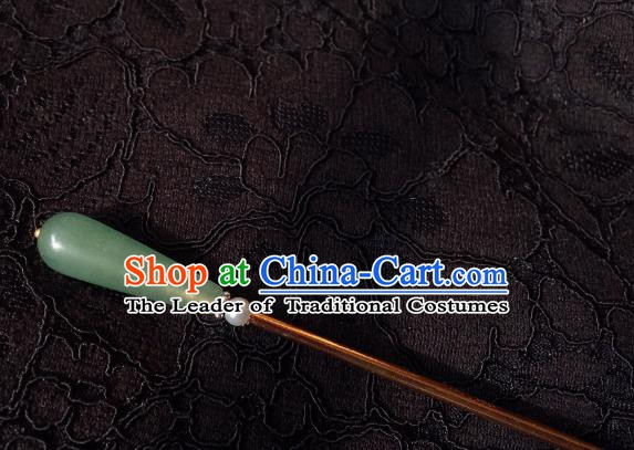 Traditional Chinese Ancient Hair Accessories Hair Clip Green Jade Hanfu Hairpins for Women