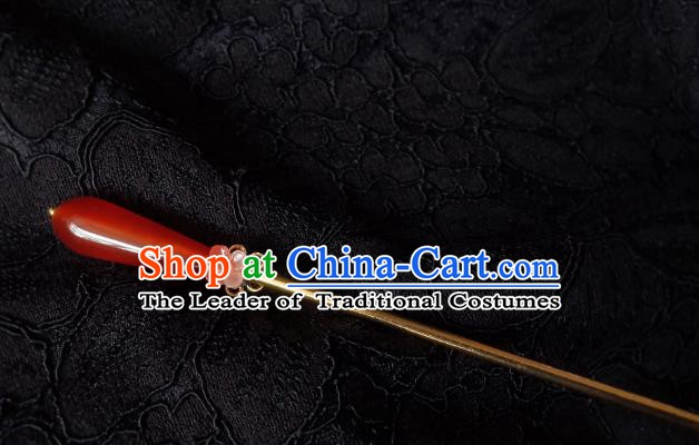 Traditional Chinese Ancient Hair Accessories Hair Clip Red Agate Hanfu Hairpins for Women