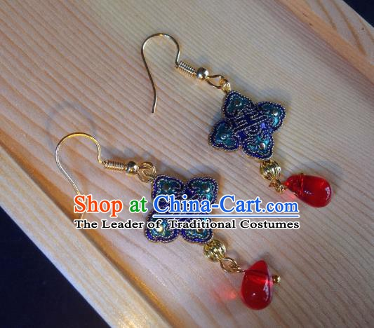 Traditional Chinese Ancient Jewelry Accessories Blue Chinese Knots Earrings Eardrop for Women