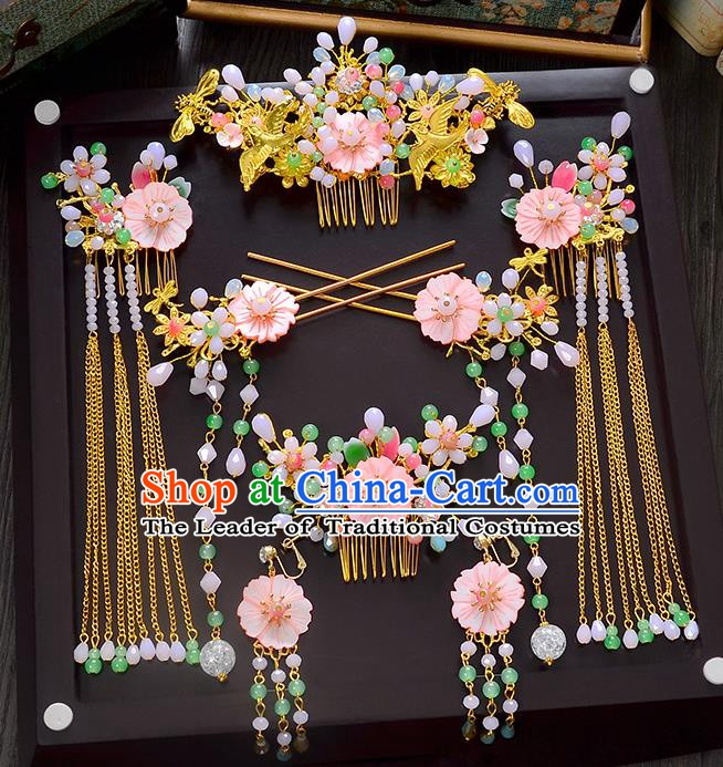 Traditional Chinese Ancient Bride Hair Accessories Xiuhe Suit Hairpins Pink Flowers Hair Comb Complete Set for Women