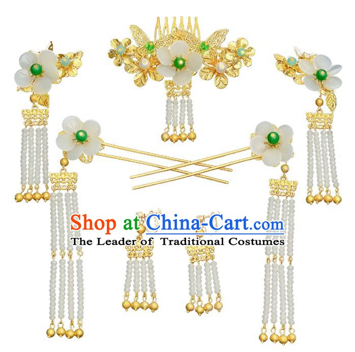 Traditional Chinese Ancient Bride Hair Accessories Xiuhe Suit Hairpins White Flowers Hair Comb Complete Set for Women