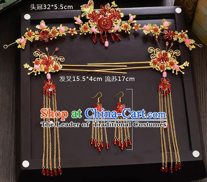 Traditional Chinese Ancient Bride Hair Accessories Xiuhe Suit Hairpins Red Jade Hair Clasp Complete Set for Women