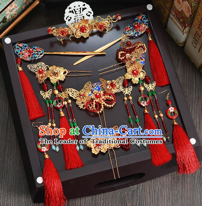Traditional Chinese Ancient Bride Hair Accessories Xiuhe Suit Jade Phoenix Coronet Hairpins Complete Set for Women