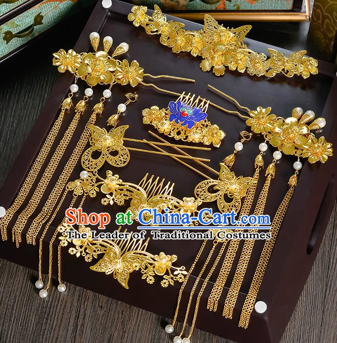 Traditional Chinese Ancient Bride Hair Accessories Xiuhe Suit Golden Butterfly Phoenix Coronet Hairpins Complete Set for Women