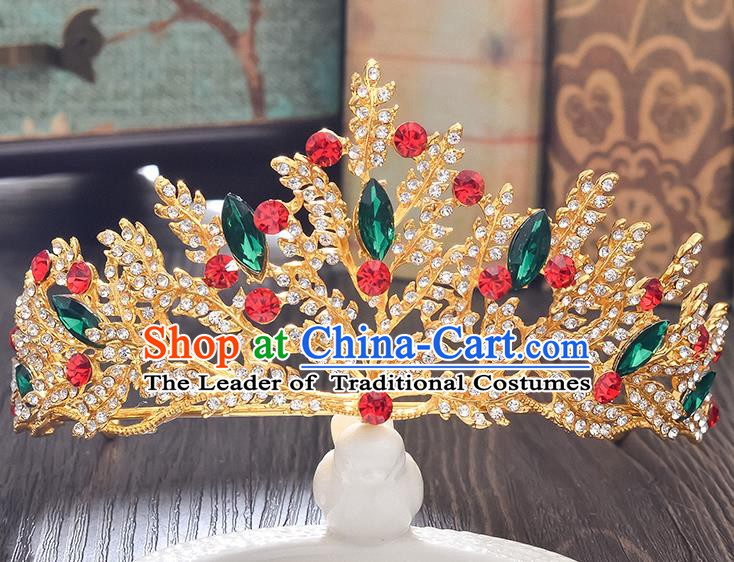 Handmade Bride Wedding Hair Accessories Baroque Crystal Royal Crown for Women