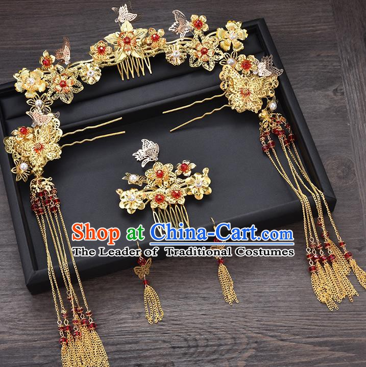Traditional Chinese Ancient Bride Hair Accessories Xiuhe Suit Golden Flowers Tassel Step Shake Hairpins Complete Set for Women
