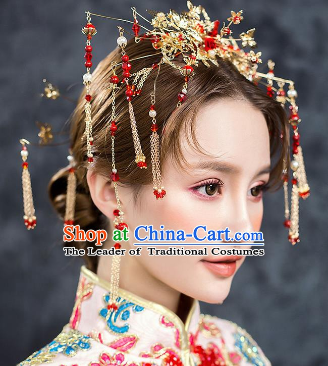 Traditional Chinese Ancient Bride Hair Accessories Xiuhe Suit Wedding Tassel Step Shake Hairpins Complete Set for Women