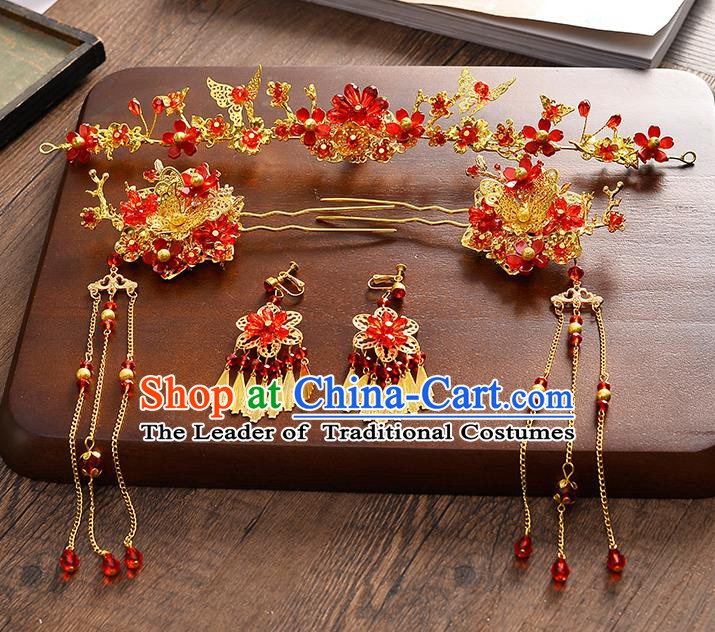 Traditional Chinese Ancient Hair Accessories Xiuhe Suit Bride Phoenix Coronet Red Crystal Hairpins Complete Set for Women