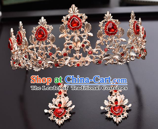 Handmade Bride Wedding Hair Accessories Red Crystal Royal Crown and Earrings for Women