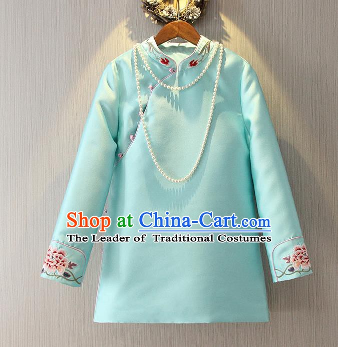 Chinese Traditional National Cheongsam Blue Blouse Tangsuit Stand Collar Embroidered Shirts for Women