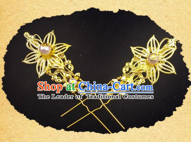 Traditional Chinese Ancient Hair Accessories Hanfu Golden Hairpins for Women