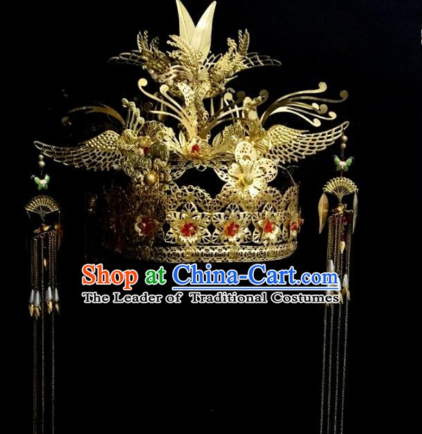 Traditional Chinese Ancient Wedding Hair Accessories Hairpins Golden Phoenix Coronet for Women