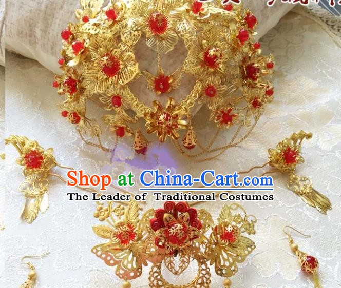 Traditional Chinese Ancient Bride Hair Accessories Xiuhe Suit Hairpins Complete Set for Women