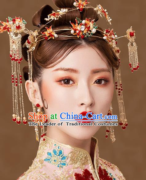 Traditional Chinese Ancient Bride Hair Accessories Xiuhe Suit Goldfish Phoenix Coronet Hairpins Complete Set for Women