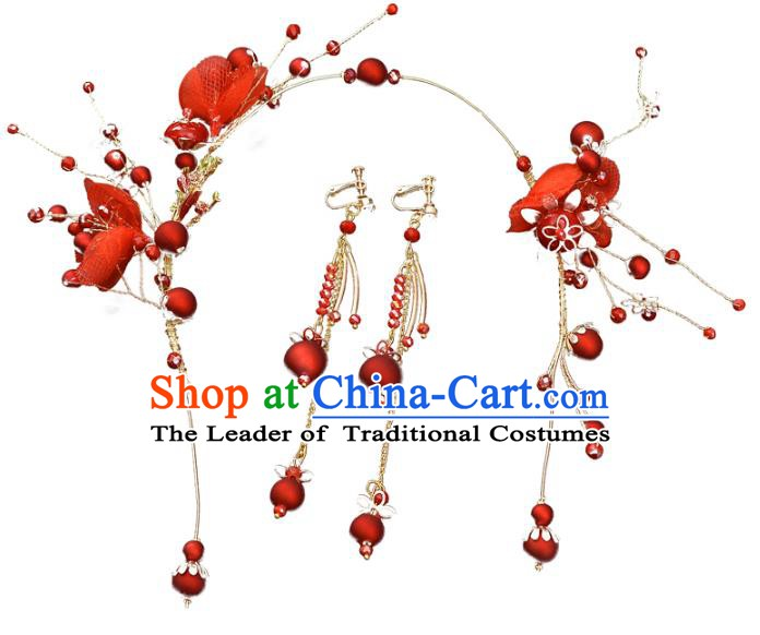 Handmade Bride Wedding Hair Accessories Flowers Hair Clasp and Earrings for Women