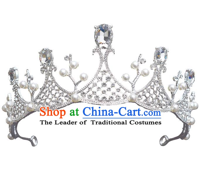 Handmade Bride Wedding Hair Accessories Princess Crystal Hair Clasp Royal Crown for Women
