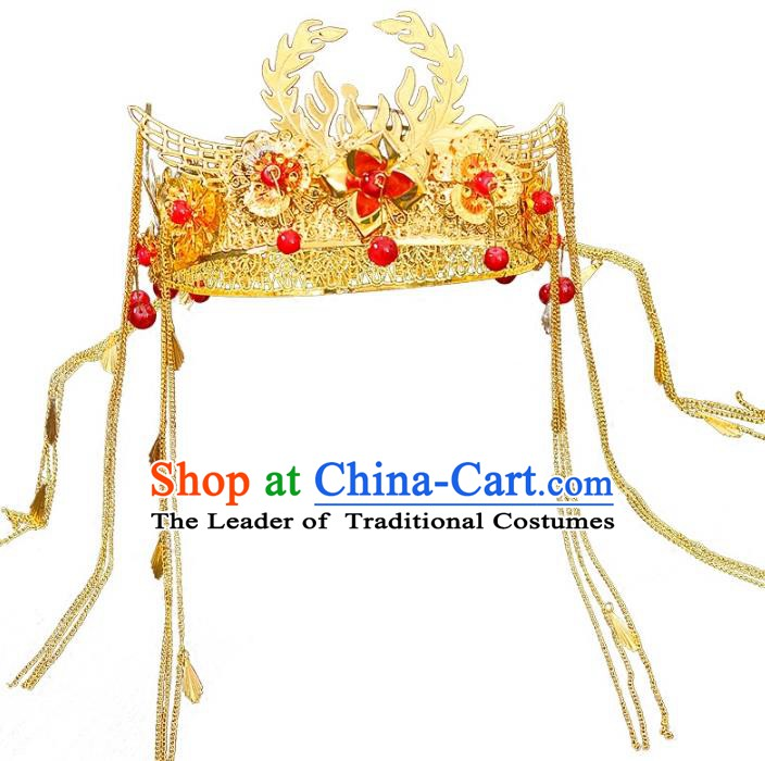 Traditional Chinese Ancient Bride Hair Accessories Xiuhe Suit Tassel Phoenix Coronet Hairpins Complete Set for Women