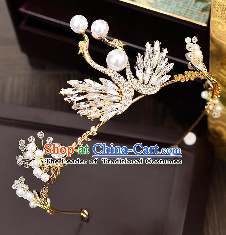 Handmade Bride Wedding Hair Accessories Princess Crystal Swan Hair Clasp Royal Crown for Women