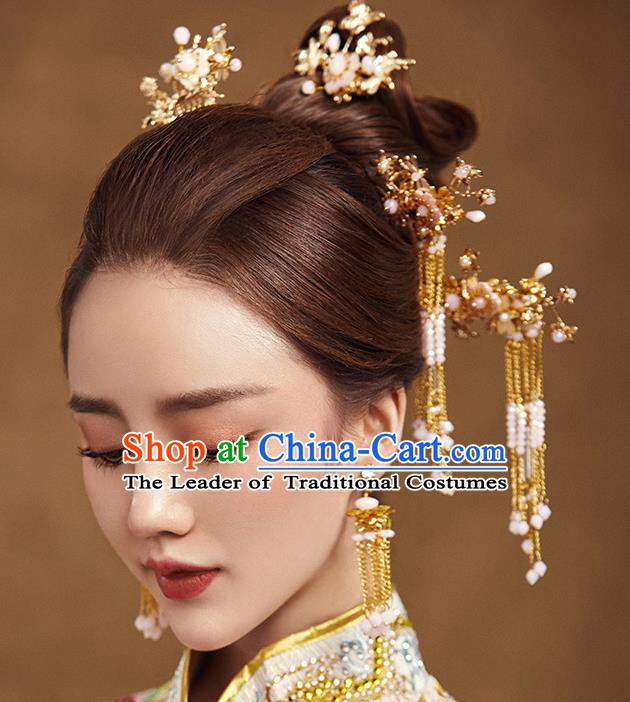 Traditional Chinese Ancient Bride Hair Accessories Xiuhe Suit Hairpins Hair Combs Complete Set for Women