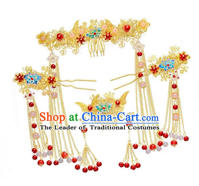 Traditional Chinese Ancient Bride Hair Accessories Xiuhe Suit Hairpins Blueing Lotus Hair Clasp Complete Set for Women