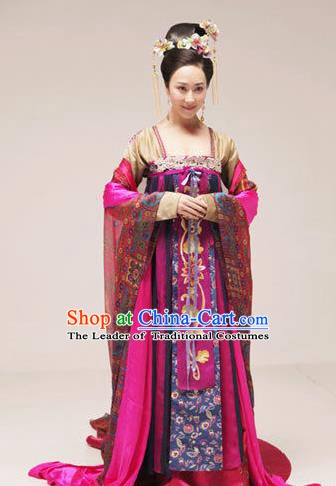 Traditional Chinese Ancient Palace Lady Tang Dynasty Imperial Consort Embroidered Replica Costume for Women