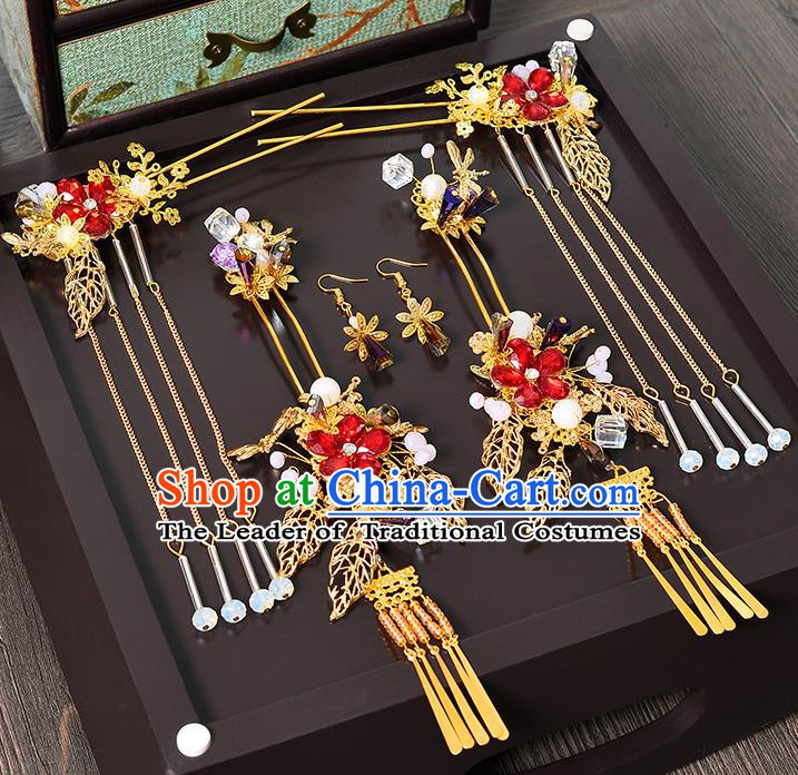 Traditional Chinese Ancient Bride Hair Accessories Xiuhe Suit Tassel Step Shake Hairpins Complete Set for Women