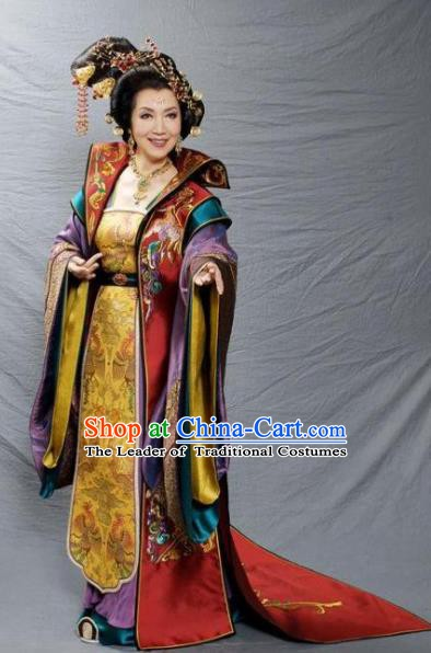 Traditional Chinese Tang Dynasty Empress Dowager Embroidered Dress Replica Costume for Women