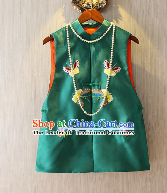 Chinese Traditional National Cheongsam Vest Tangsuit Embroidered Butterfly Green Waistcoat for Women