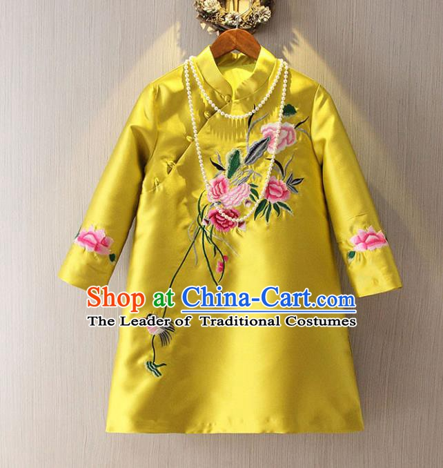 Chinese Traditional National Cheongsam Tangsuit Stand Collar Embroidered Qipao Dress for Women