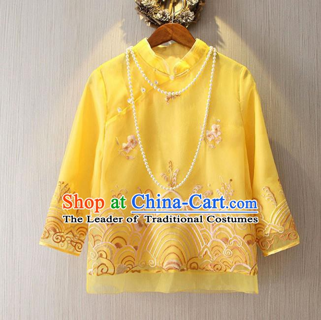 Chinese Traditional National Yellow Cheongsam Shirt Tangsuit Stand Collar Embroidered Blouse for Women